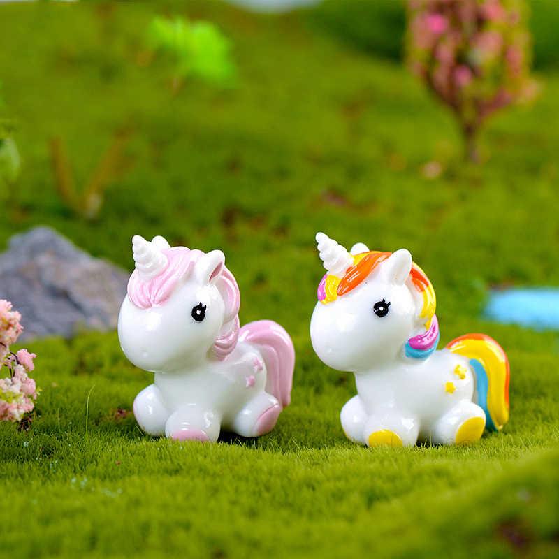 1 cái Dễ Thương Rainbow Kỳ Lân động vật Khu Vườn thu nhỏ phụ kiện hiện đại Vườn Cổ Tích Pop thu nhỏ các bức tượng nhỏ Vườn Cổ Tích vật dụng