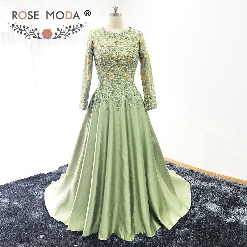 Rose Moda High Neck Long Sleeves Muslim Evening Dress Gold