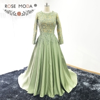 Rose Moda High Neck Long Sleeves Muslim Evening Dress Gold and Green Formal Lace Evening Dress with Shawl Real Photos
