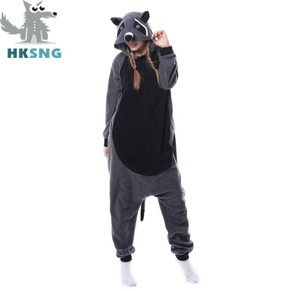 HKSNG Новый животных взрослых Серый Пижама с енотом мультфильм енот кигуруми  комбинезоны костюмы для косплея унисекс aff6c50773c12