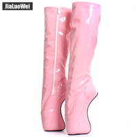 Fashion women autumn spring boots sexy fetish Ballet 18cm high heels no heel shoes knee high boots white long boots big size