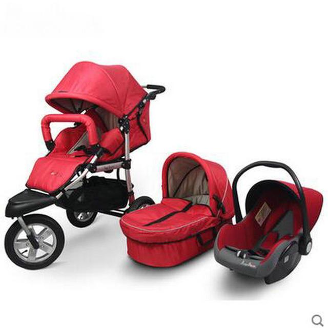 Carrinho de bebê roda de borracha ar cheio conjuntos de bebê dobra 3 em 1 berço carrinho de assento de segurança do carro conjunto de alta qualidade do transporte do bebê conjuntos