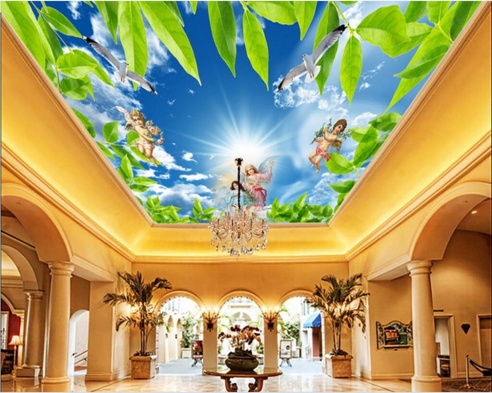 Online Buy Wholesale Sky And Angels Ceiling Mural Wallpaper From