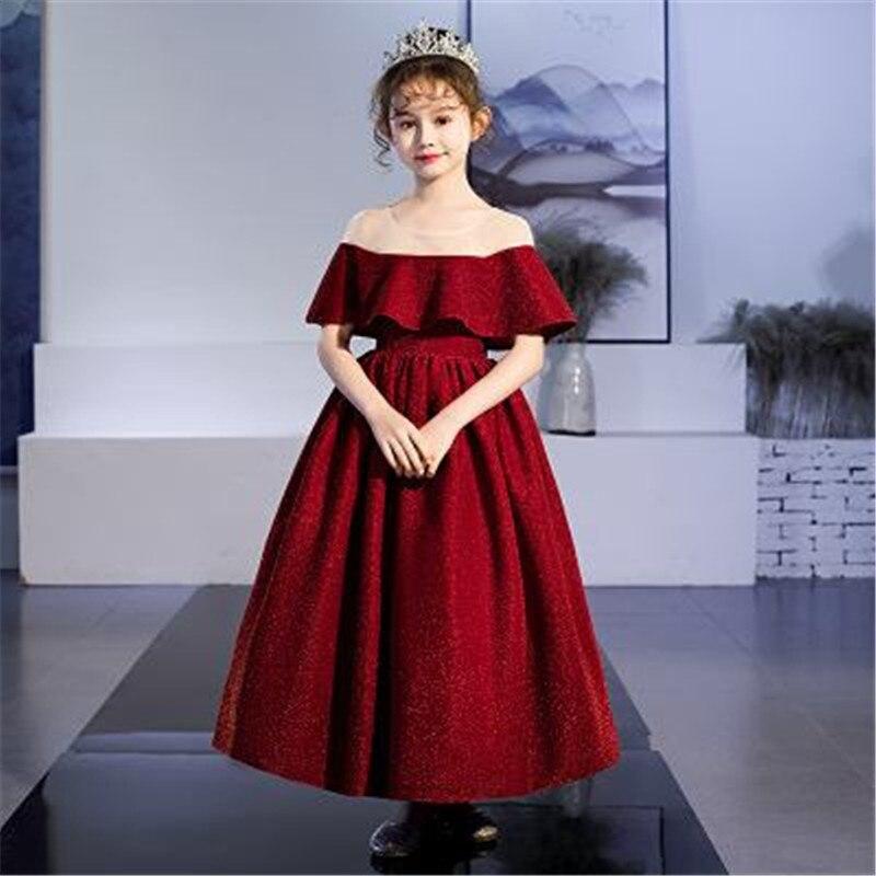 2019 Kids Dresses For Girls Wedding Birthday Party Teenage Girls Solid Ruffle Tutu Princess Dress Baby Girl Clothes Vestido L256