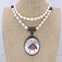 Natuurlijke shell hanger met kevers hanger ketting handgemaakte parels streng sieraden ketting mode sieraden gift voor lady 4125-in Hanger Kettingen van Sieraden & accessoires op