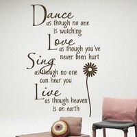 2017 Venta Caliente de la Danza Amor Sing Live Wall Quotes Decoración de La Boda Etiqueta de La Pared Calcomanía de Vinilo