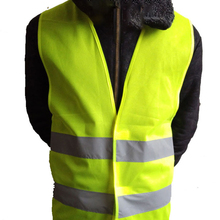 High Visibility Yellow Vest Reflective Safety Workwear for Night Running Cycling Man Night Warning Working Clothes Fluorescent high visibility warning waistcoat fluorescent workwear reflective safety vest with zipper pocket motorcycle jacket