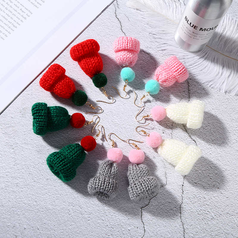 Personalized Little Knitted Hat Venonat Pink White Red  Green Dangle Earrings Cute Drop Earrings For Women