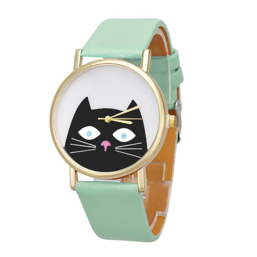 Superior Cat Women Men Leather Band Analog Quartz Dial Wrist Watch July 23*