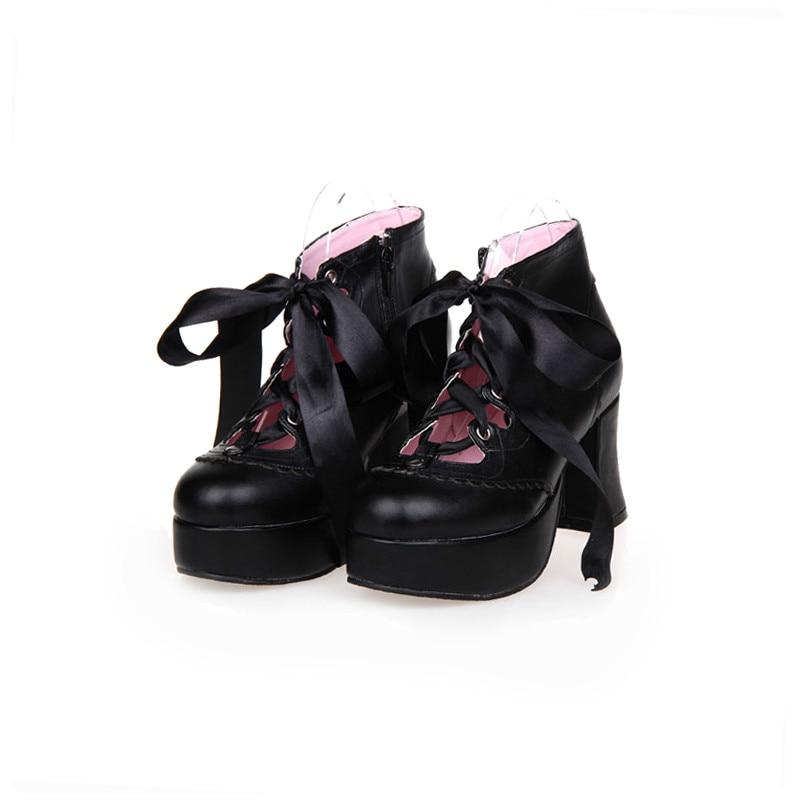 Princess sweet lolita shoes Japan's sweet LOLITA shoes high heel and coarse ribbons lace princess soft sister shoes pu8030 босоножки sweet shoes sweet shoes sw010awbksf5