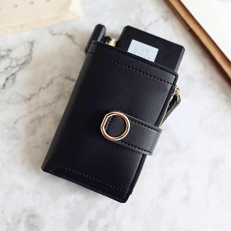 Carteras de mujer pequeño monedero de cuero de marca de moda bolso de tarjeta de mujer para mujer 2019 Cartera de mujer monedero de mujer Clip de dinero