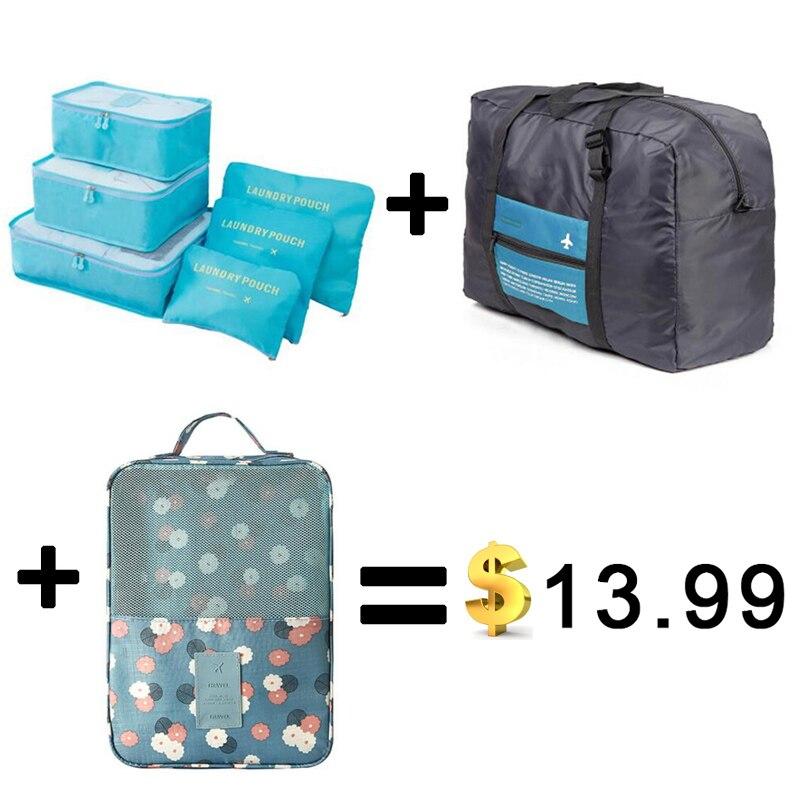 2018 6pcs/set Travel Bags Packing Cubes Organizer Folding Bag Bags Plus Travel Handbags Travel Bags Pack Men and Women Luggage iux travel mesh bag luggage organizer packing men and women luggage travel bags packing cubes organizer folding bag bags