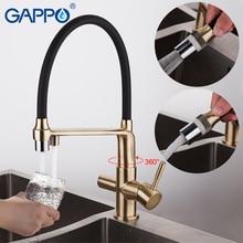 GAPPO Golden kitchen faucet with filtered water taps kitchen mixer torneira Brass kitchen water crane taps faucet filter