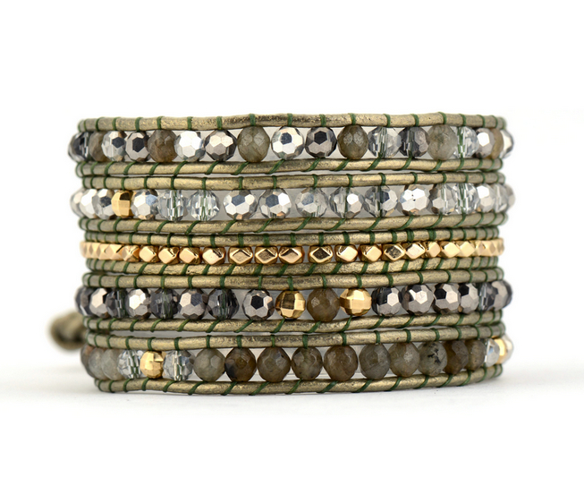 Exquisite Natural Stones with Crystals Leather Wrap Bracelets Wholesale Handmade Bohemian Bracelet Boho Bracelet Yoga Bracelet bracelet