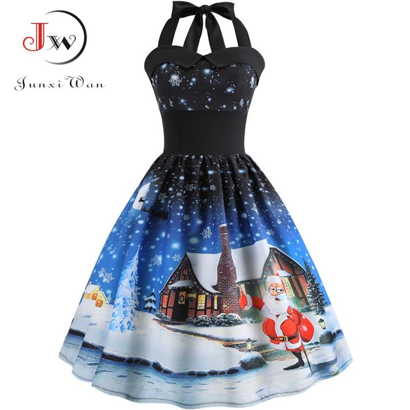 Sexy Party Dress Women Vintage Dresses Print Christmas Dress Summer V Neck Backless Halter Bandage Midi Dress Plus Size Vestido