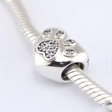 Nuevo 100% Granos de Plata DIY Amo Mi Pata Del Animal Doméstico silver charm con piedras de la cz adapta estilo europeo pulseras de los encantos AFL244