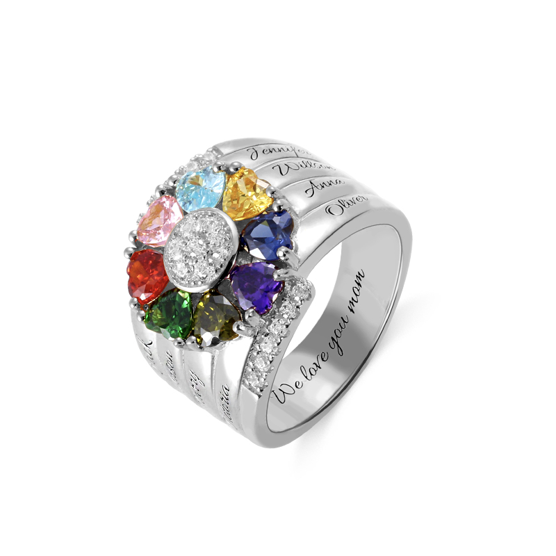 AILIN personnalisé 925 en argent Sterling pierre de naissance anneaux fête des mères anneaux coeur pierre de naissance avec 8 noms bijoux fête des mères