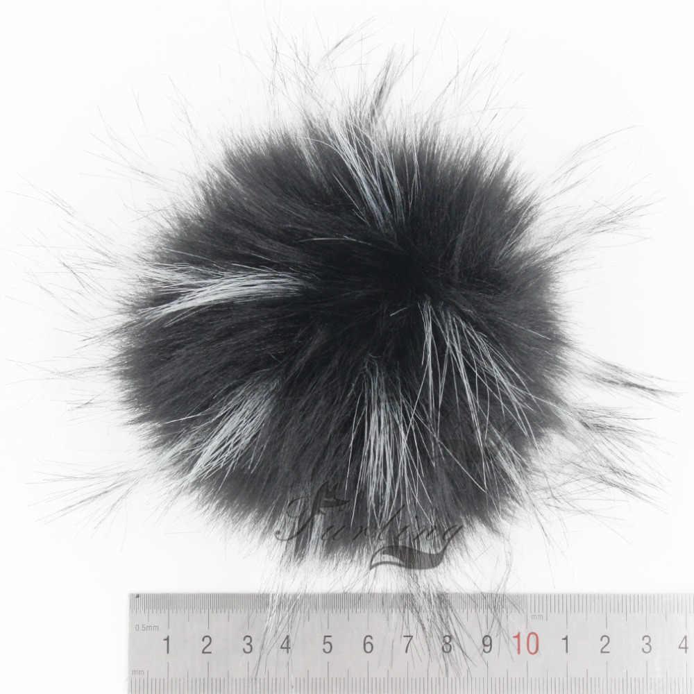 12 pcs Faux Raccoon Fur 11 cm Fofo Bola Pom pom com Pressione o Botão para Acessórios Chapéu Gorro Mulheres Keychain saco de mão Encantos