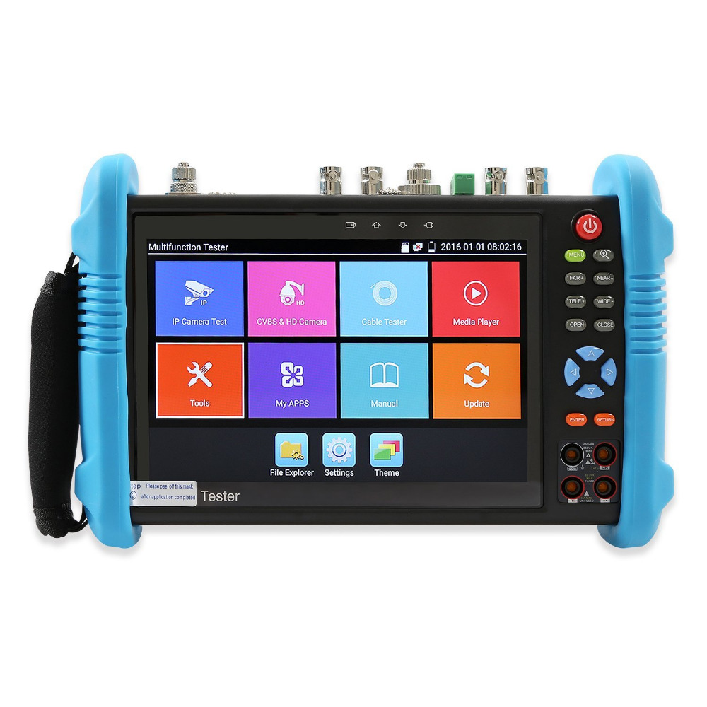 7 inch Six In One CCTV Tester Monitor IP Analog AHD TVI CVI SDI Camera H.265 4K ONVIF Multimeter Optical Fiber TDR VFL POE 12V 7 ip camera cctv tester poe wifi dm optical power meter visual fault locator tdr sdi ipc 8600movts