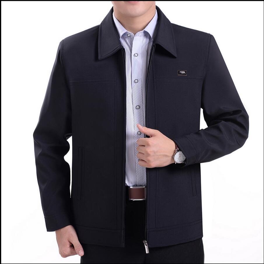 L-4XL Frühling Herbst herren Jacken Umlegekragen Mantel Mittleren Alters Mann Lässig Reißverschluss Mäntel Männliche Jacke plus größe kleidung