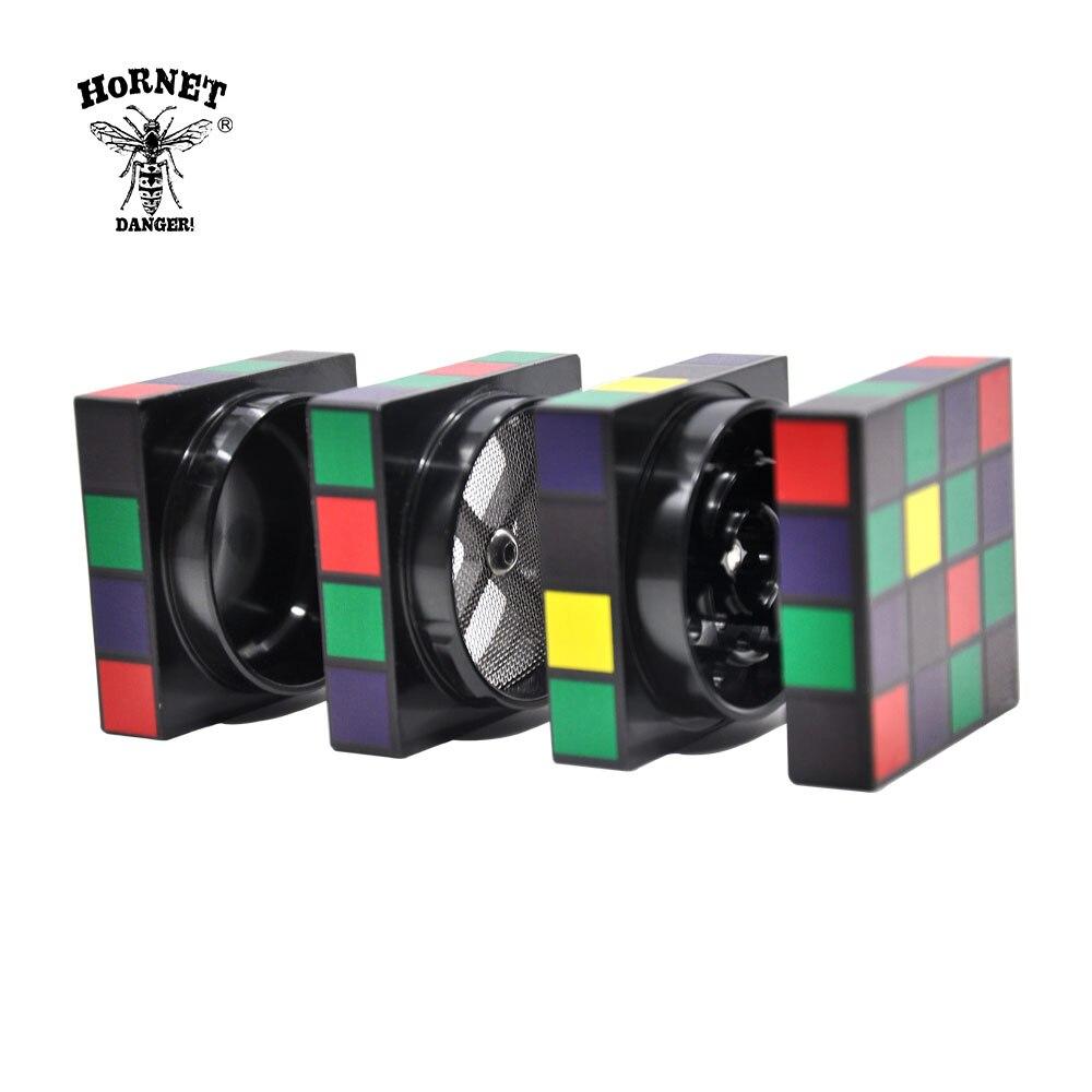 HORNET Rubik s Cube Shape Aviation Aluminum Tobacco Herb Grinder 50 MM Sharp Blade Teeth Spice Mill Smoking Herbal Grinder