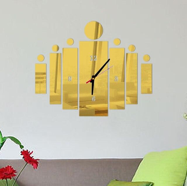 2017 3d mirror wall art acrylic clock modern design watch decoration ...