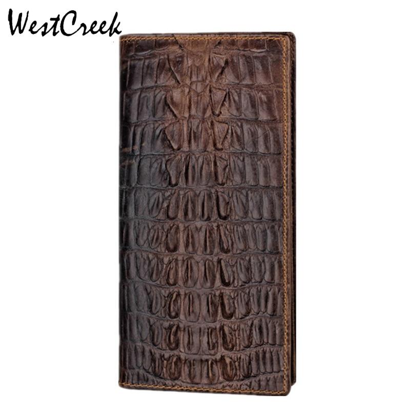 WESTCREEK Diseño único Patrón de cocodrilo Hombres de cuero genuino Billetera larga barata por GMW004