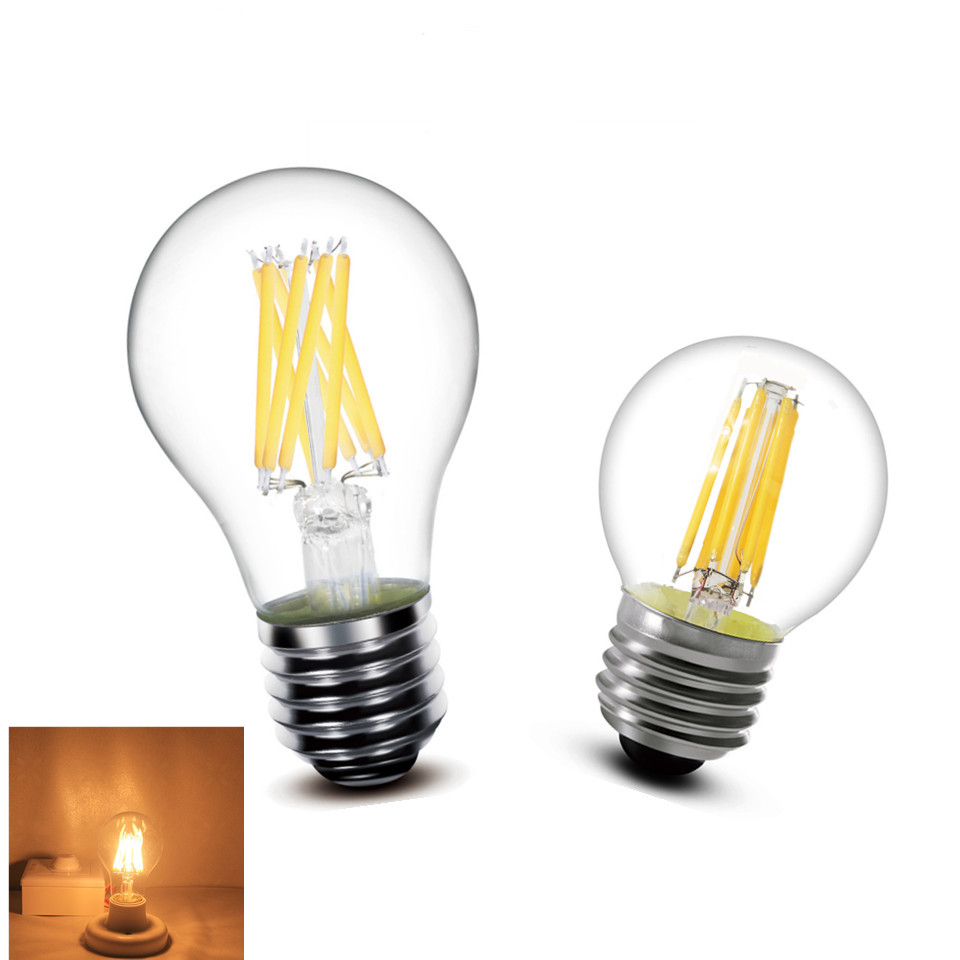 1pcs LED Filament Bulb E27 E14 2W 4W 6W 8W Clear Retro Edison lamp light Incandescent lamp A60 G45 220v AC Super bright e27 led light ac220v 240 v 4 w 6 w filament lamp bulb of the sphere of the ancient back edison lamp led g45 a60 white hot light