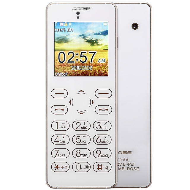 MELROSE T1 Ultra-thin 1.54 inch Full Touch Card Mini Mobile Phone FM Back Camera Anti-lost Audio Player Sound Recorder Cellphone
