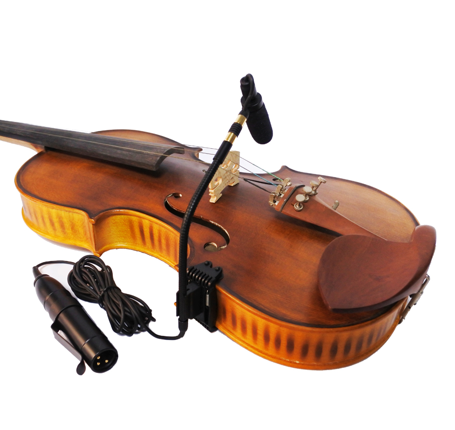acoustic violin fiddle gooseneck condenser mic microphone with phantom power converter preamp XLR male connetor output