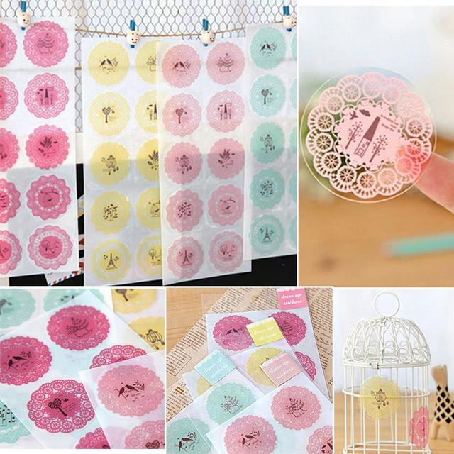 10 sticker sheet stationery stickers scrapbook round lace decoration transparent decorative phone photo album diary