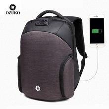 c3f38f23fd OZUKO luxe serrure codée mâle étanche sac à dos voyage hommes d'affaires  USB Charge Port sac à dos Anti-vol femmes sac à dos sac.