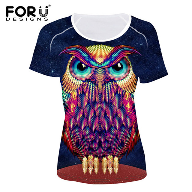 0712ee72f9f6 FORUDESIGNS Novelty 2017 3D Owl Printed Customize T Shirt for Women Summer  Short Sleeve Supreme Top Tees Ladies Tee Shirts S-XXL