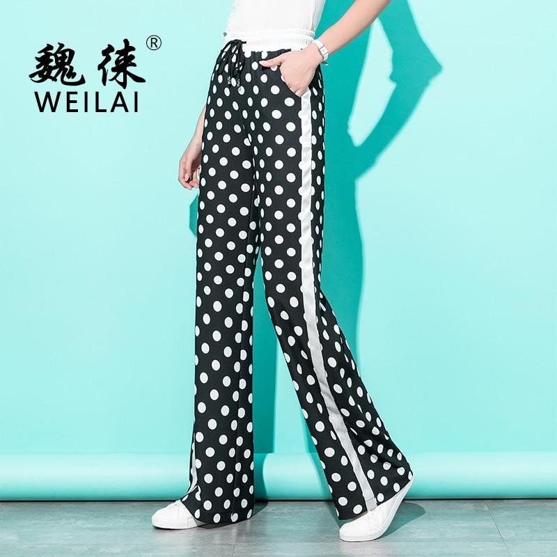 Women Dot Print High Waist   Wide     Leg     Pants   2019 Spring Summer Chiffon Self Belt Harajuku Gothic Boho 5XL Plus Size Women Trousers