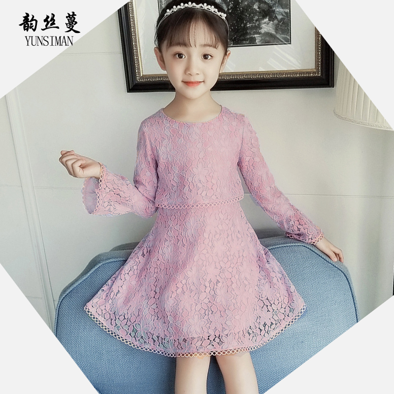 Elegant New Girls Dress Long Sleeve 7 8 9 10 11 12 Years Flare Sleeve Purple Lace Party Knee Dresses Kids Princess Costume 50M8A long sleeve scalloped lace cropped top