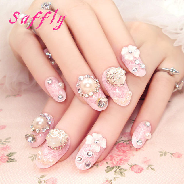 Online shop saffly high qaulity 24 pcs cute oval fake nails saffly high qaulity 24 pcs cute oval fake nails decorated acrylic nail tips pre design long fake nails with gems nail art tips prinsesfo Image collections