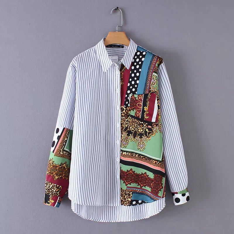 New Women Fashion Long Sleeve Totem Printing Patchwork Striped Blouse Shirts Women Retro Blusas Business Femininas Tops LS3136