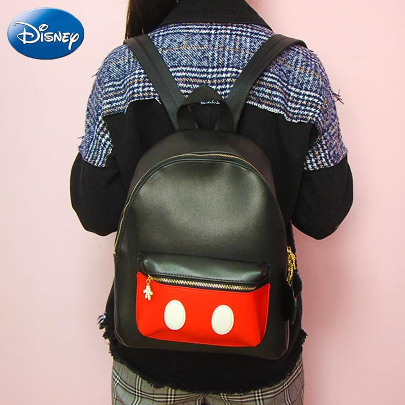 Disney Cute Cartoon Bag Mickey Fashion Girls Women School Bag traveling PU Waterproof Large capacity Plush Backpack Shoulder in Plush Backpacks from Toys Hobbies