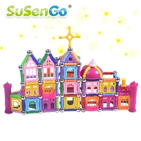 SuSenGo Magnetic Toy Building Enlighten Block Designer 358pcs Magnet Bars Metal Balls Stick Kids Children Learning
