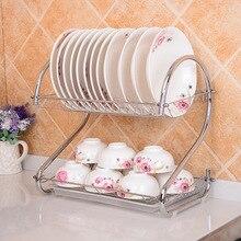 Estante de doble nivel de acero inoxidable cubertería estante de cocina caja de almacenamiento secador de platos bandeja de goteo soporte de platos