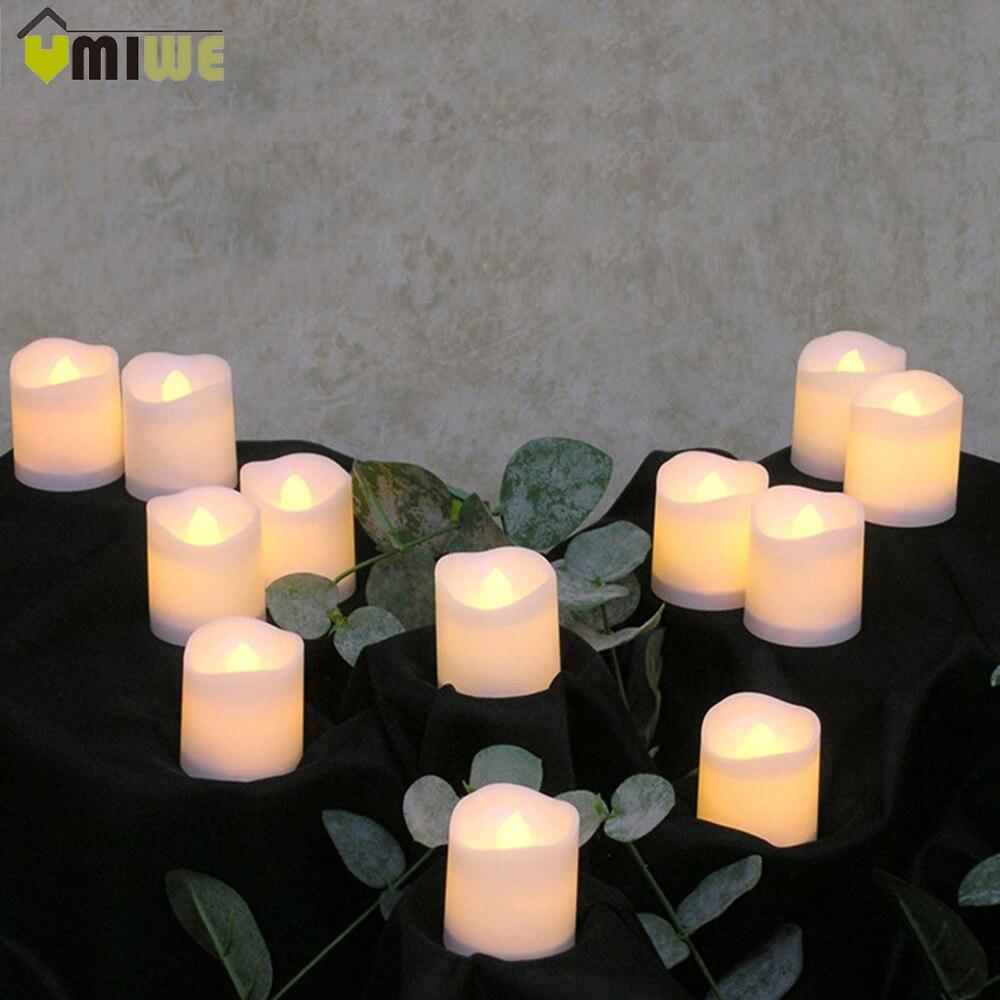 12 pz Decorazione Della Lampada Della Luce Senza Fiamma LED Candela Sfarfallio Elettrico alimentato a Batteria Candele Yellow Tea Luce Festa di Nozze Candela