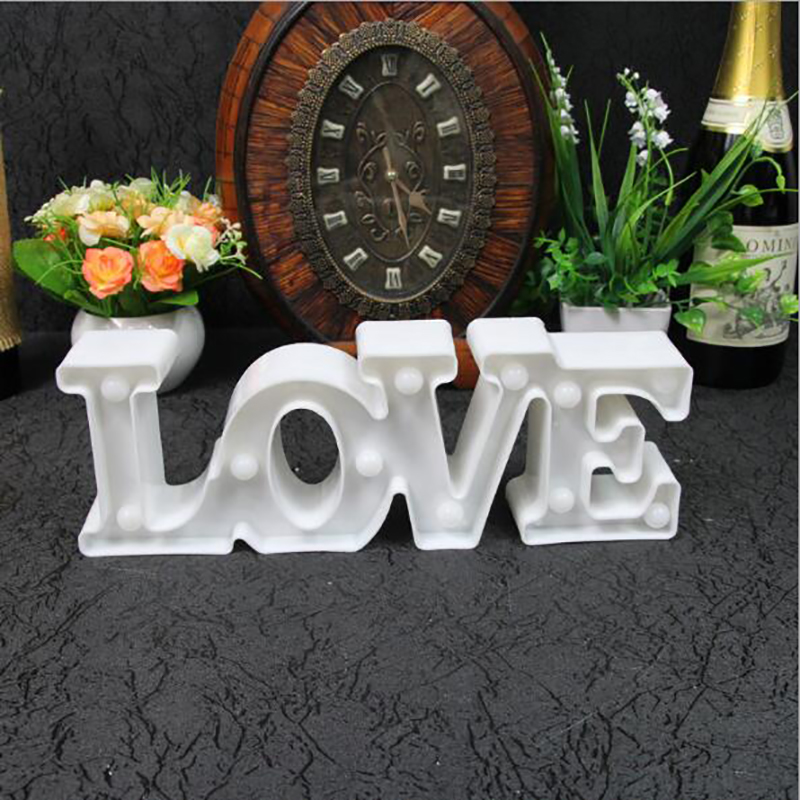3D LOVE Letter HEART Night Light Party Decoration Props Light Lamp Desktop Ornaments Lovers Gifts Wedding Room Home Decor valentine heart ballon pattern love confession gifts night light