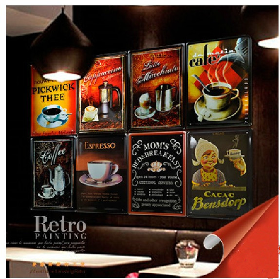 coffee impression Metal Sign Sheet Painting Wall Drawing oil ...