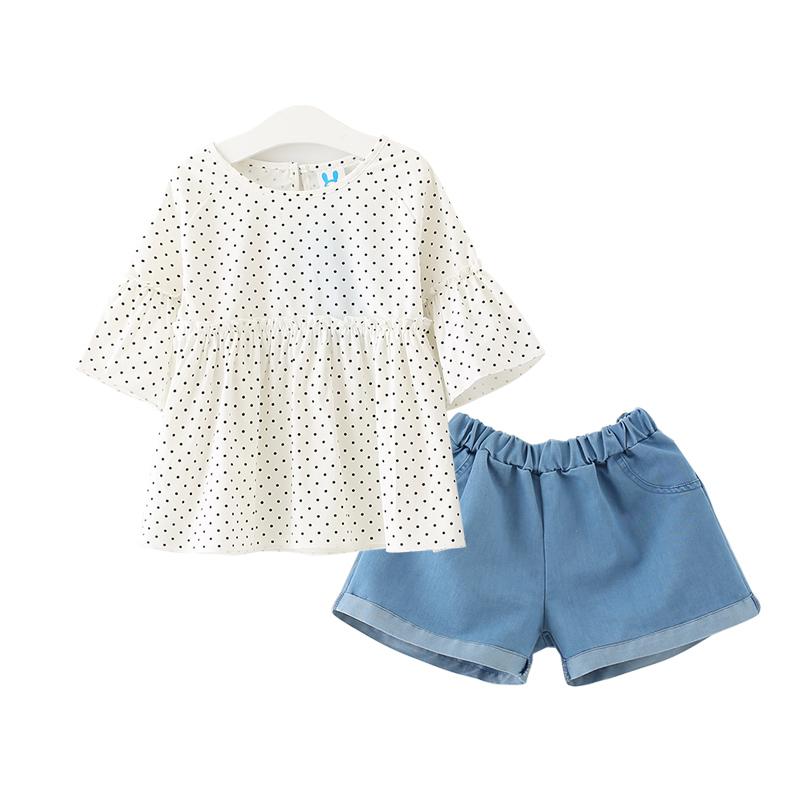 4 to 10 years kids & teenager girls white dot blouse with jeans shors sets children summer cotton 2 pieces set clothes