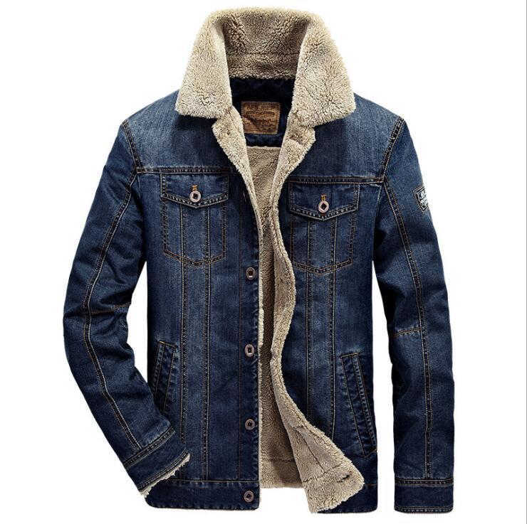 2019 hommes hiver épais polaire poitrine poches rodéo doublé Denim vestes mode hommes Jeans veste épaissir chaud hiver Outwear mâle