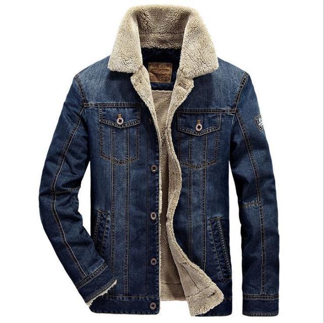 2019 Bolsos No Peito Dos Homens de Inverno de Lã Grossa de Rodeio Forrado Jaquetas Jeans Da Moda calças de Brim Dos Homens Jaqueta Engrossar Morno do Inverno Outwear Masculino