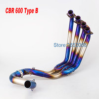 Motorcycle Exhaust Link Pipe Blue Stainless Steel Motorcycle Front Bend Pipe Full Systems Exhaust Pipe Fit for CBR650 CBR650F