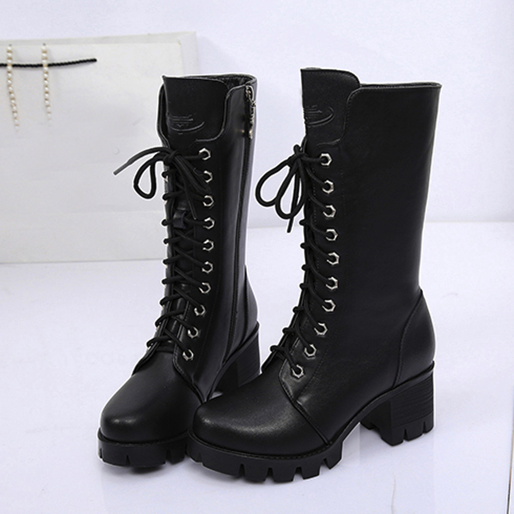 Ankle Shoes Winter Round Toe Warm High heel Boots
