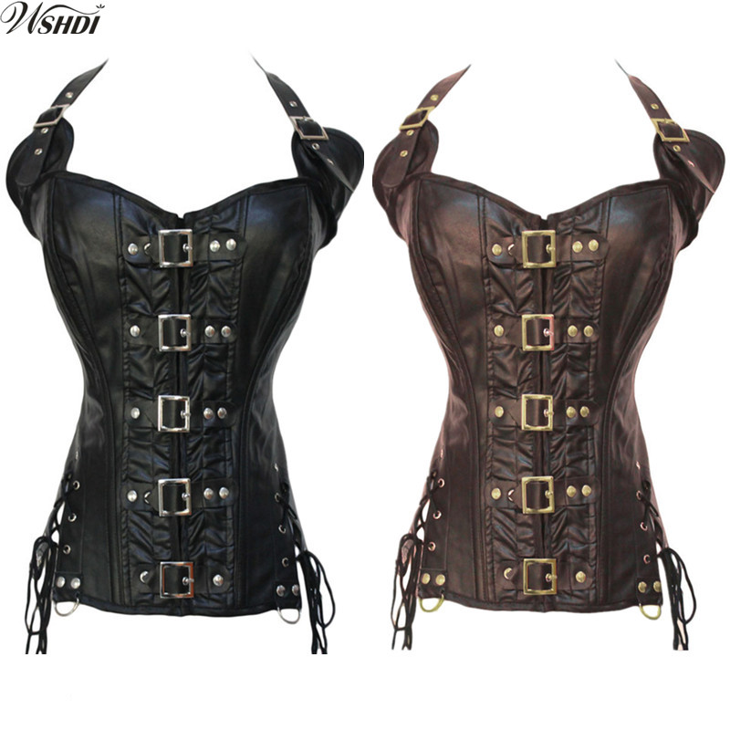 Gothic Women Halter Faux Leather Overbust Corset Sexy Buckle Closure Steampunk Slimming Waist Body Shaper Black Brown Corselet