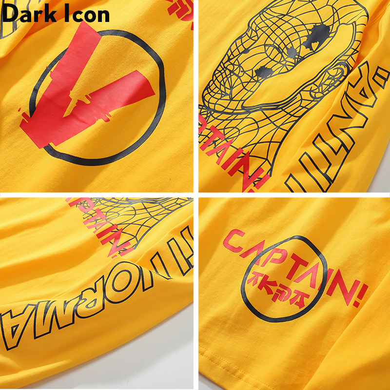 Dark Icon Captain Line Face Long Sleeved T shirt Men Round Neck Hip Hop Tshirts Printing Street Tee Shirts Yellow White in T Shirts from Men 39 s Clothing